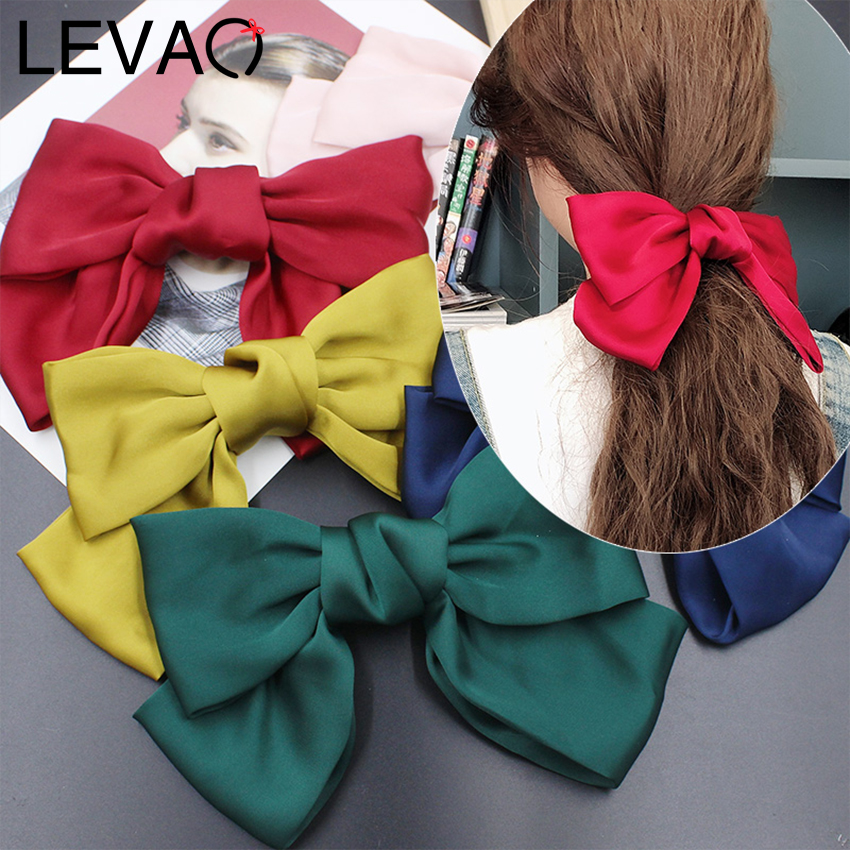 Levao Satin Large Hair Bows Rope Bands Hairpins Scrunchies Girls Bow Tie Rubber Bands Hair Clips For Women Hair Accessories