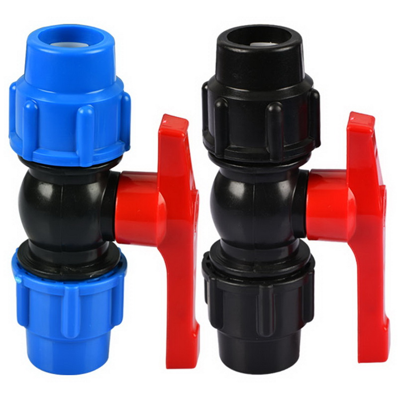 20mm Plastic Core Ball Valve Straight Blue Black Caps Adapter PE Pipe Fittings Quick Connector For Irrigation