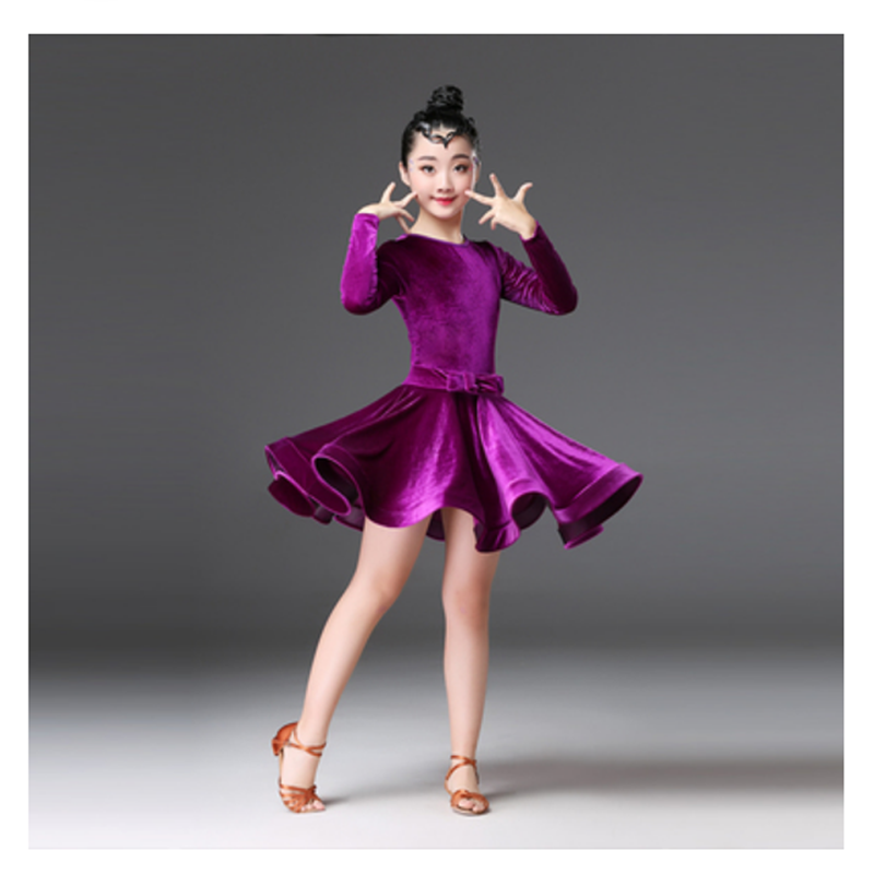 Kids Velvet Latin Dance Dress For Girls Child Competition Ballroom Tango Salsa Dancewear Practice Dancing Wear Cha Cha