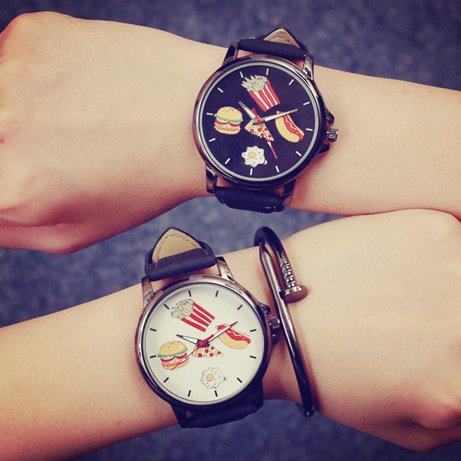 Fashion Doodling Food Style Quartz Couple Watches Leather Band Alloy Case Women And Men Wristwatches Gift Parejas