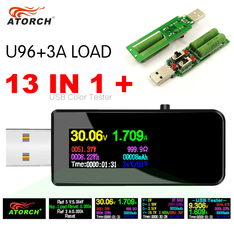 U96 13 In 1 USB Tester DC Digital Voltmeter Amperimetro Voltage Current Volt Meter Ammeter Detector Power Bank Charger Indicator
