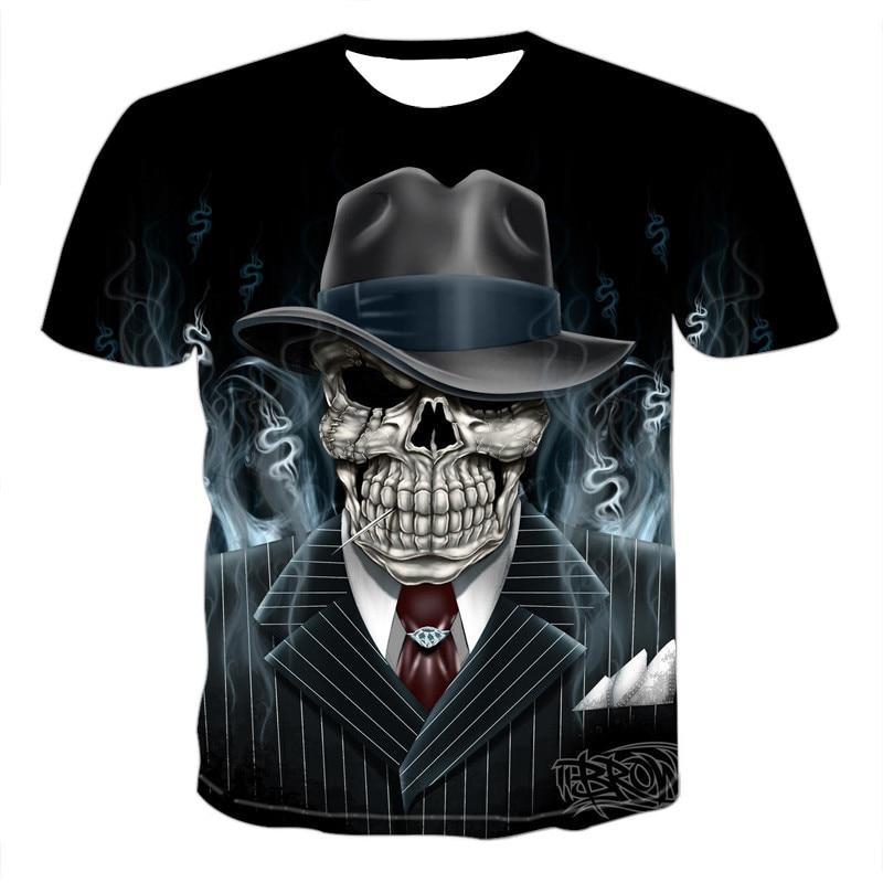 Skull T Shirt Men Skeleton T-shirt Punk Rock Tshirt Gun T Shirts 3d Print T-shirt Vintage Gothic Mens Clothing Summer Tops