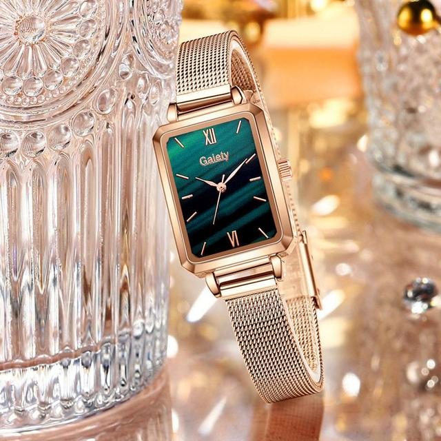 Marca Gaiety-relojes cuadrados de cuarzo para mujer, conjunto de pulsera, esfera verde, sencillo, malla de oro rosa, de lujo 3