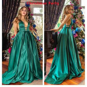 Image 3 - Sexy Red Evening Dresses V Neck Backless Satin Prom Dresses Long Elegant Evening Gown Robe De Soiree Christmas Party Dress Plus