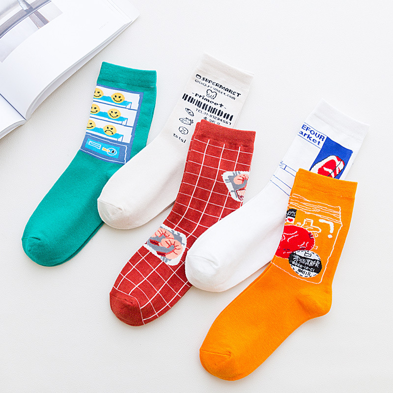 Fashion Sesame Street Series Women Socks Cotton Cute Girls Japanese Kawaii Socks Female With Novelty Cartoon 169