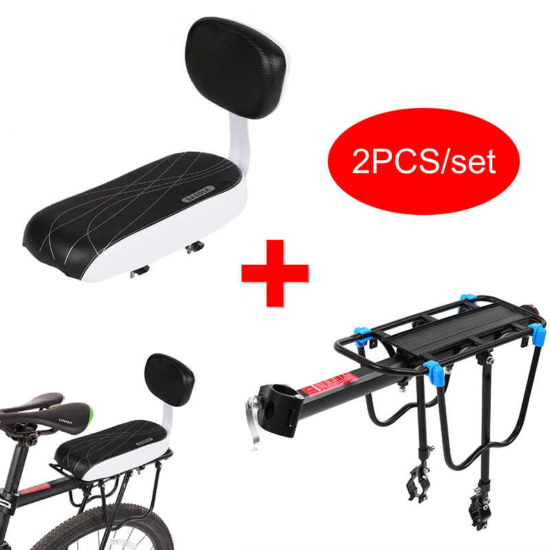 Bike Seat Soft Sponge Cushion Rack Saddle Pad with Back Support Rest