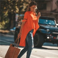 Summer Women Solid Hollow Out T Shirt O Neck Short Sleeve Tees Casual Irregular Loose T Shirts