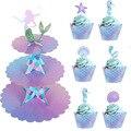 3 Tier Meerjungfrau Kuchen Stehen Cupcake Halter Meerjungfrau Geburtstag Dekorationen Cupcake Wrapper für Baby Dusche Hochzeit Partei Liefert