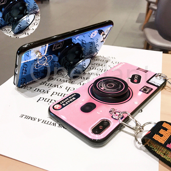 Fashion 3D Retro Camera lanyard Standing Case For iPhone And Samsung S8 S9