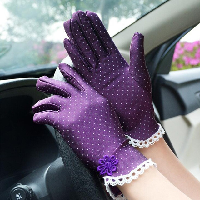 Women's Fashion Cotton Summer Gloves Lace Patchwork Gloves Anti-skid Sun Protection Driving Short Thin Gloves Dot Women Gloves 3