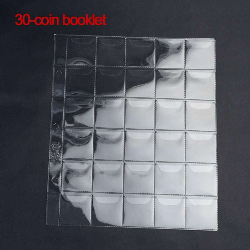 30 Pockets Transparent PVC Collecting Coin Holders Money Album Pages Stamp Currency Protector Coin Collecting Supplies