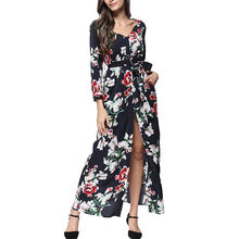 Women Dress Fashion Sexy V-Neck Floral Print Pocket Long Sleeve Maxi Dress With Belt Autumn Winter Casual Dress Vestidos 75(China)