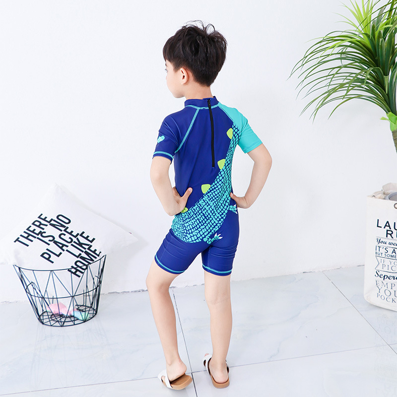 One-piece Swimsuit For Children Big Boy Half Sleeve Shorts Swimwear BOY'S Cartoon Beach Diving Suit Capping Swimwear