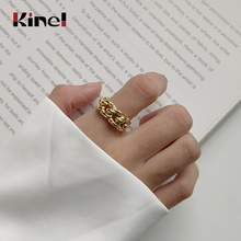 Kinel Woman Jewelry Real 925 Sterling Silver Rings Women 18K Gold Twist Ring Vintage Style Minimalist Jewelry 925 Silver Ring kinel popular 925 sterling silver ring minimalist style retro old thai silver woven open ring for women gifts korean jewelry