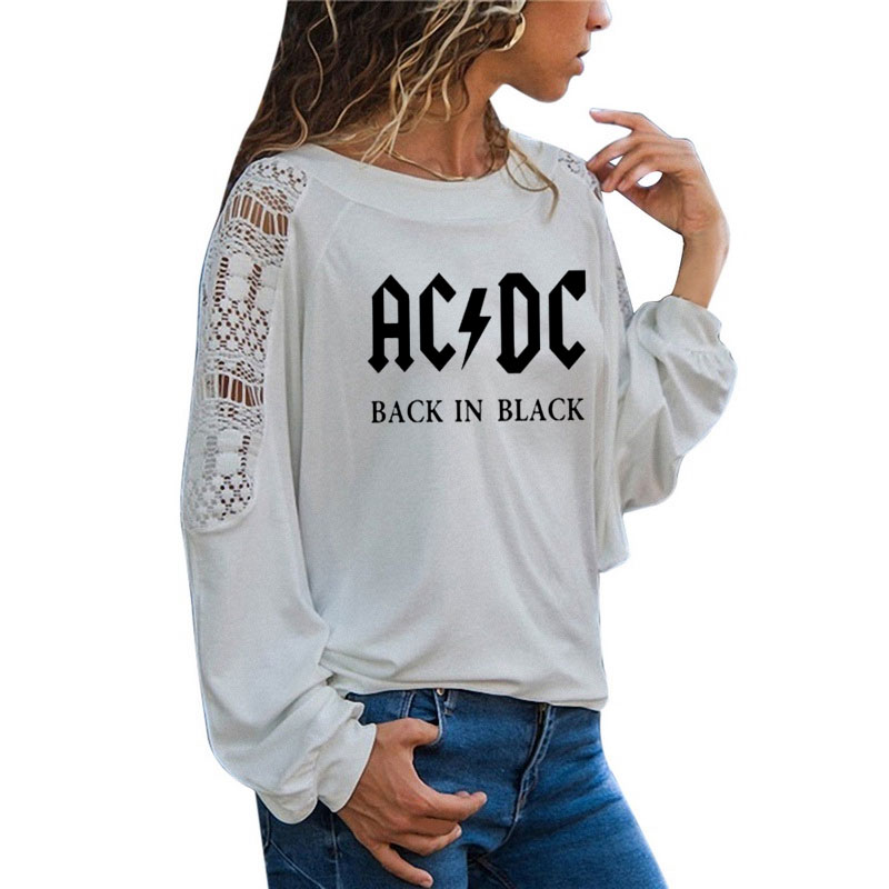 ACDC Band Rock T-Shirt Women's ACDC Letter Printed Graphic Tshirts Hip Hop Rap Music Long Sleeve Large Size Loose Lace Tops Tee