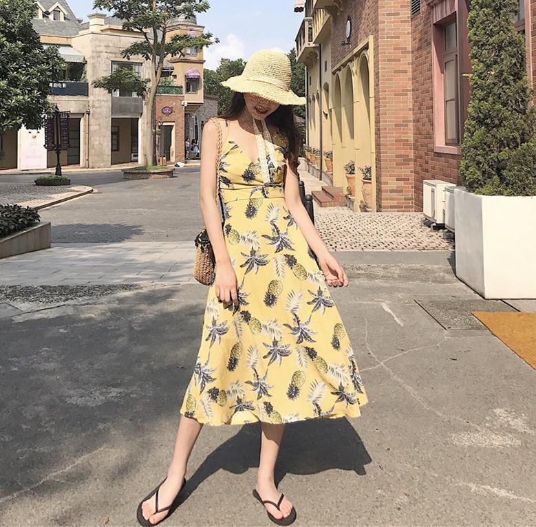 2018 Summer New Style Bali Seaside Holiday Pineapple Slimming Printed Cross Backless Strapped Dress
