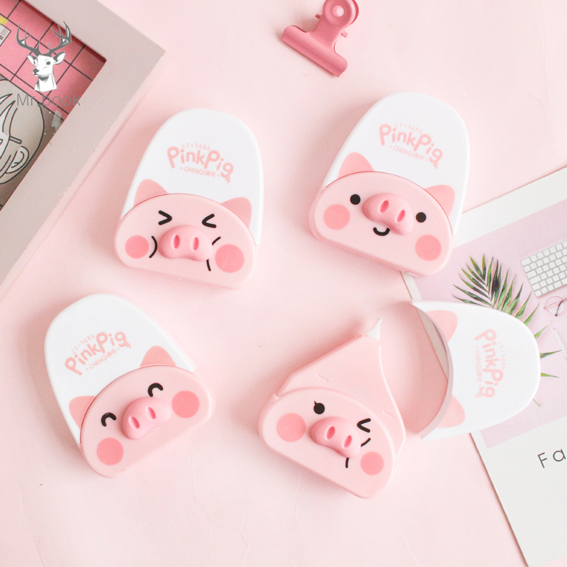 Mini Cute Pink Pig Correction Correcting Tape Kawaii Stationery Corrector Student Kids Gifts School Office Supplies 6m*5mm