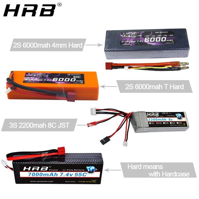 Аккумулятор hrb Lipo 2S 3S 4S 5000mah 6000mah 2600mah 2200mah 11,1 V 7,4 V 14,8 V 6S 22,2 V XT60 Deans T RC FPV части для самолетов, автомобилей, лодок