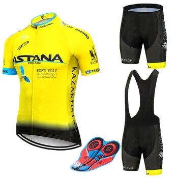 Conjunto de ciclismo astana amarelo 9d, camiseta e bermuda de equipe masculina secagem rápida para ciclistas, nova 2019 culotte 1