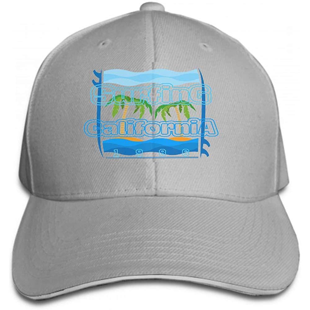 Men's Vintage Dad Cowboy Hat Adjustable Baseball Cap ts surf la Beach California Surfing Inscription Typography GRAP Gray