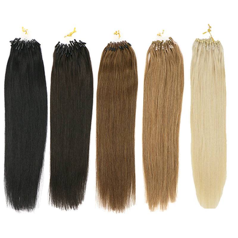 Toysww Micro Ring Hair Extensions 1g/Stand Machine Remy Hair Micro Link Hair Extensions Human Hair 14