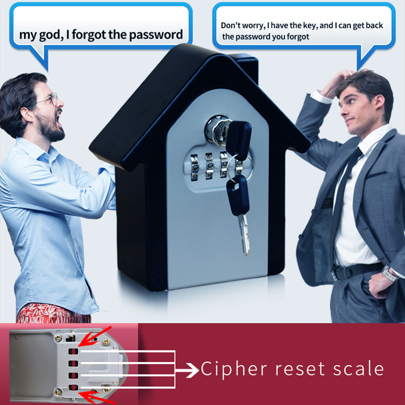 Key Lock Box With Waterproof Case Wall Mount Metal Password Box For Home Business  JLRL88