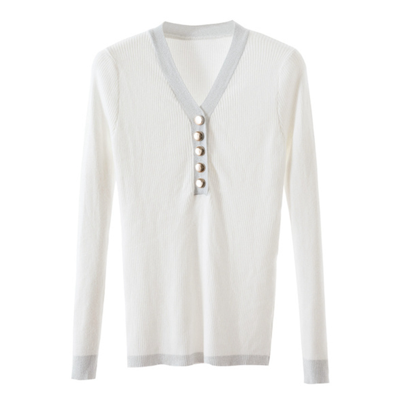 Gkfnmt Knitted Pullover Jumper Ladies Basic V-Neck Winter And Button Slim