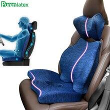 Purenlátex almofada ortopédica de espuma, para assento automático, para escritório, almofada para carro e cóccix, para dor ciática e nas costas alívio
