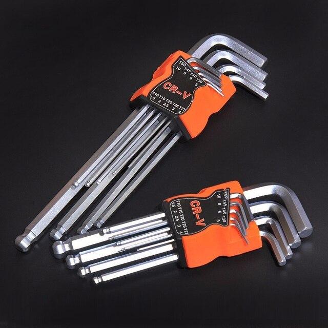 FINDER 9 sztuk podwójny koniec L typ śrubokręt klucz sześciokątny zestaw klucz imbusowy sześciokątne płaskie kulki Torx gwiazda głowy klucz zestaw kluczy narzędzia ręczne