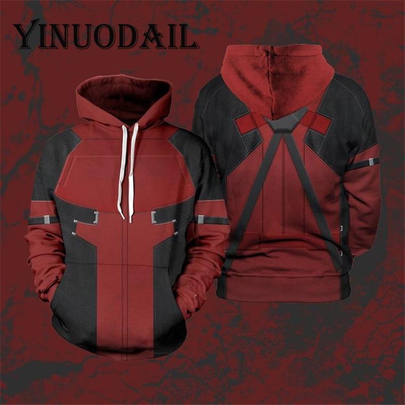 Fans Wear Winter Sweatshirt Cosplay Costume Hoodie Deadpool 3D Printed Long Sleeve Casual Tops For Men