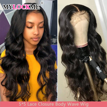 5X5 Lace Closure Wig Body Wave Lace Closure Human Hair Wigs PrePlucked Peruvian Lace Closure Wig 150% Density Remy MYLOCKME