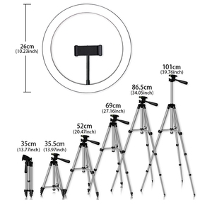 Image 2 - Phone Tripod Holder Clip With Led Ring Light Camera Photography Annular Lamp Studio Ringlight For Youtube Makeup Phone Self