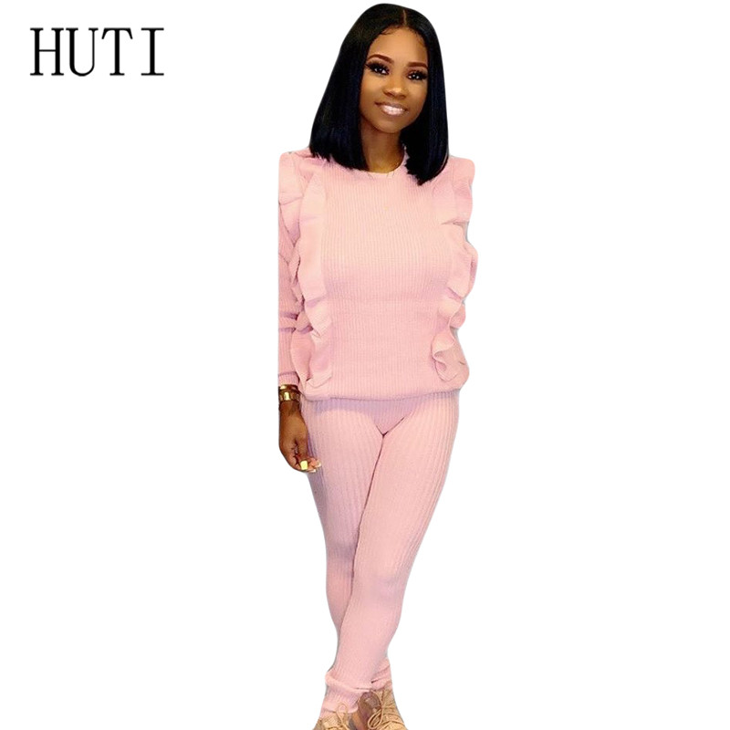 HUTI Casual Two Pieces Sets Sweater Knitted Jumpsuits for Women Autumn Womens Long Sleeve Bodycon Sexy Playsuits Solid Overalls