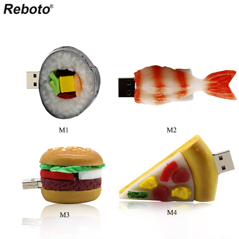 Cartoon Delicious Food Figure Japanese Sakana Sushi Memory Stick 64GB 32GB 16GB 8GB USB 2.0 Flash Drive Burger Pizza U Stick