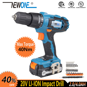 NEWONE Electric Power Tool 20V Li-ion Cordless Impact Drill/Screwdrive Rechargeable Drill Max. 40Nm torque with Big Battery