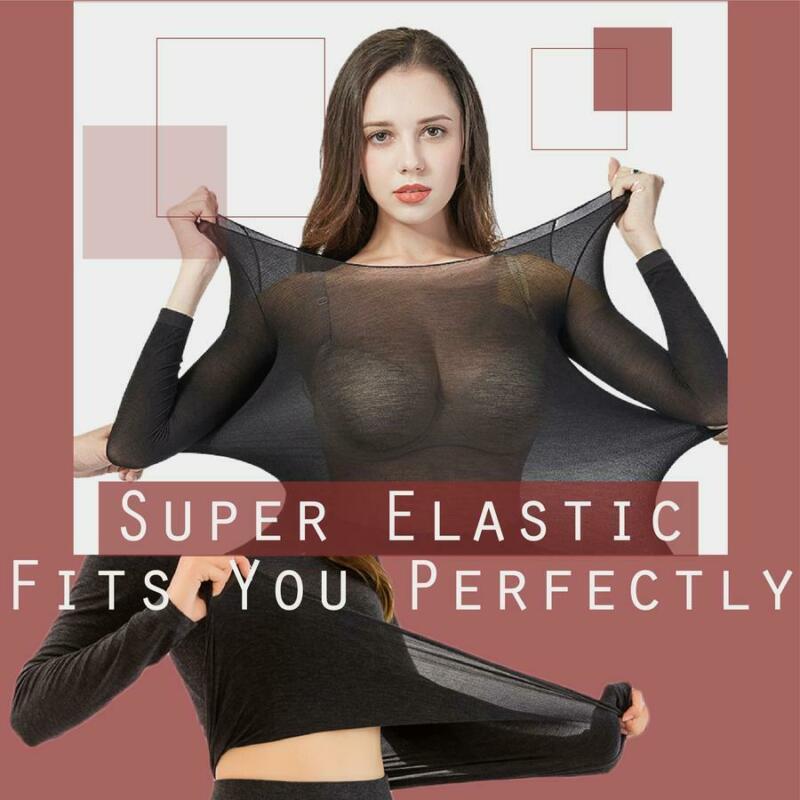 Winter Sexy Warmer Thicken Thermal Underwear Set Women Solid Top Bottom Set Long Sleeve Seamless Elastic Thermal Inner Wear