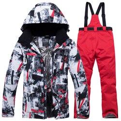 Nuevo traje de esquí de invierno para hombre, chaquetas y pantalones de nieve deportivos impermeables y cálidos para deportes al aire libre, equipo de esquí masculino, chaqueta de Snowboard