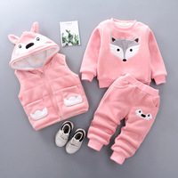 New Fashion Baby Girls Boys Kids Winter Clothes Cotton Cartoon Rabbit Vest+Top+Pant 3 Pcs Hooded Outfit Suit Children's Clothing