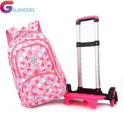 Детские новые съемные школьные сумки 2019 с 6 колесами для девочек, рюкзак на колесиках, Детская сумка на колесиках, рюкзак для путешествий