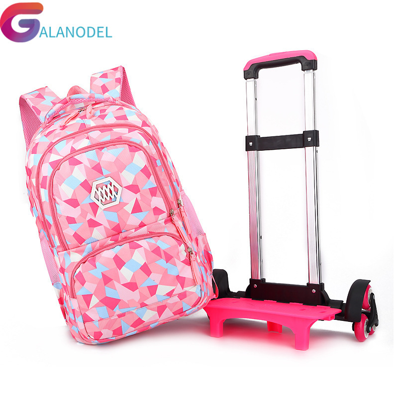 Children New Removable 2019 School Bags With 6 Wheels For Girls Trolley Backpack Kids Wheeled Bag Bookbag Travel Luggage