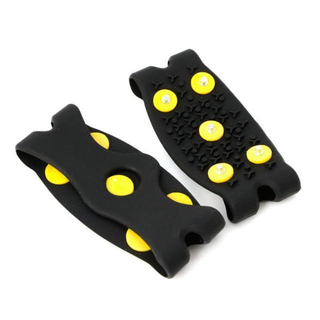 1 paire 5-goujon neige glace griffe escalade anti-dérapant pointes poignées crampons crampons chaussures couverture pour femmes hommes bottes couverture taille 35-43 # ND