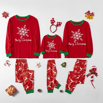 Christmas Pajamas Sets Family Jumpsuit Adults Kids And Baby Red Sleepware Pajamas Set Family Christmas Clothes Sleepwear Suits image
