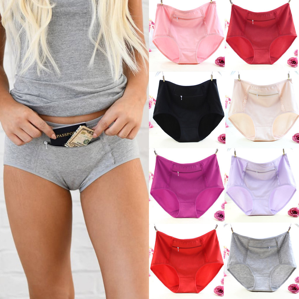 Women's Panties with Pocket 2020 solid womens Sexy Underpants Panties Soft Breathable underpants female Underwear