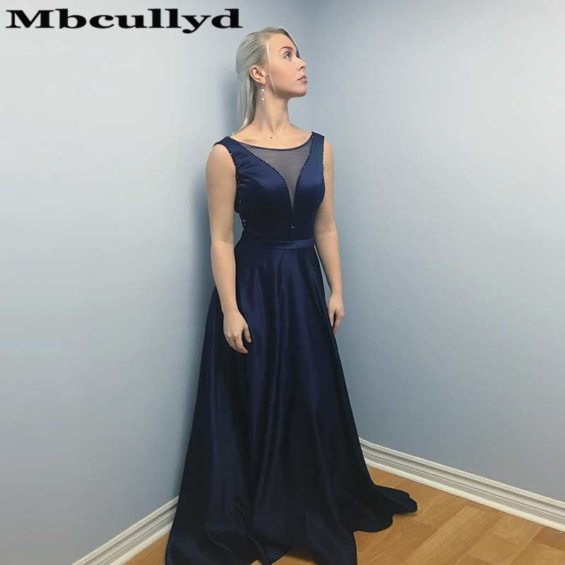 Mbcullyd Sheer Scoop Neck   Prom     Dresses   Long 2019 Navy Blue Satin Evening   Dress   For Women Formal Floor Length Girls Pageant Gowns
