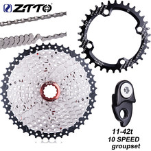 ZTTO 11-42T 10 Speed 10s Wide Ratio MTB Mountain Bike Bicycle Parts 10v Cassette Sprockets Hanger Extension chainring 10s chain