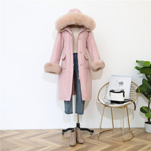 Shuchan Down Jacket Woman Hooded Winter Warm Womens Coats with Real Fox Fur Thick 90% White Duck 2019 pink blue