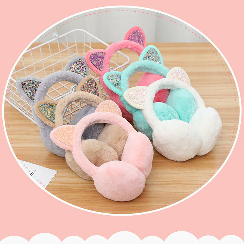 Winter Chic Sequin Folding Cat Ears Earmuffs For Women And Girls Plush Fur Ear Warmer Bun With Glitter Headband Cartoon Pattern