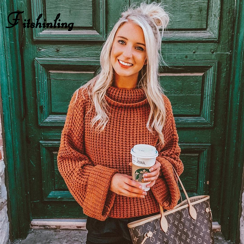 Fitshinling 2019 Winter New Women's Turtleneck Sweaters Pullovers Knitwear Solid Slim Jumper Roll Sleeve Pull Femme Sweater Sale