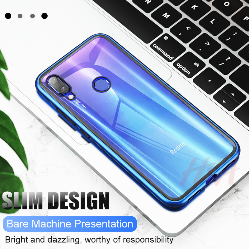 Image 3 - Metal Magnetic Adsorption Case For Redmi Note 7 6 5 Pro 6 6a Glass Case For Xiaomi 9 8 Lite 6X A2 Case Pocophone F1 Cover Case-in Phone Bumpers from Cellphones & Telecommunications