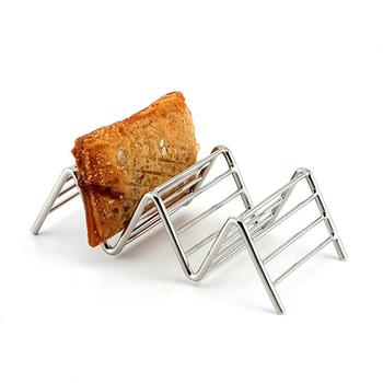 Stainless Steel Taco Holder Plate Fried Food Cooling Drain Tray Rack Pancakes Storage Shelf Pizza Pie Display Stand Kitchen Tool image
